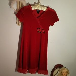 Childrens Place Size 10 Solid Red Velour Dress